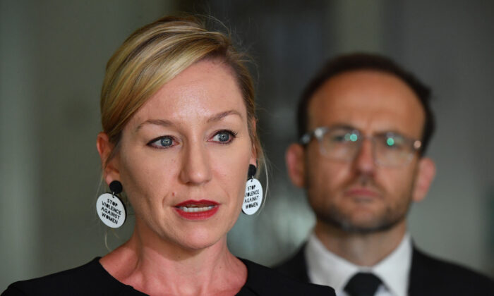 Greens Leader Adam Bandt and Senator Larissa Waters hold a snap press conference in the Mural Hall at Parliament House in Canberra, Australia on March 15, 2021. (Sam Mooy/Getty Images)