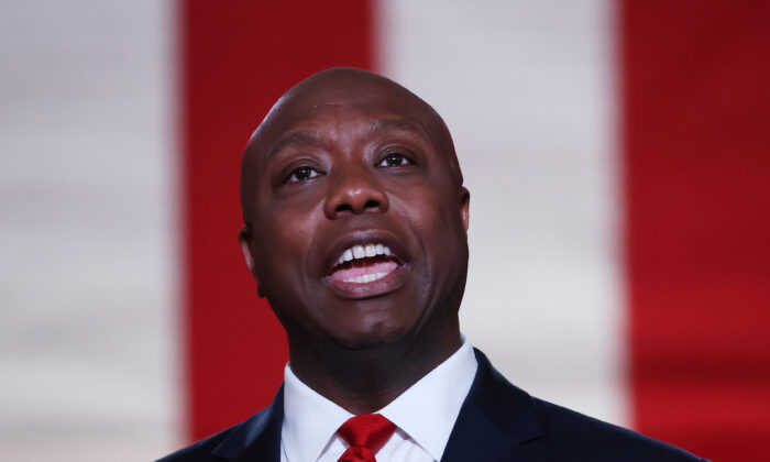 Sen. Tim Scott (R-S.C.) addresses the Republican National Convention in Washington, on Aug. 24, 2020. (Chip Somodevilla/Getty Images)