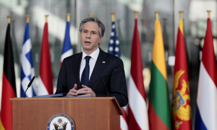 Secretary of State Antony Blinken delivers an address after a meeting of NATO foreign ministers at NATO headquarters in Brussels on Wednesday, March 24, 2021. (Virginia Mayo, Pool/AP Photo)