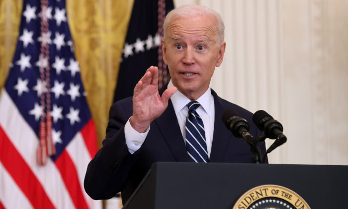 President Joe Biden talks to reporters during the first news conference of his presidency in the East Room of the White House on March 25, 2021. (Chip Somodevilla/Getty Images)