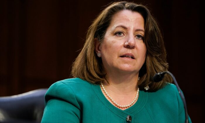 Nominee to be Deputy Attorney General Lisa Monaco testifies before the Senate Judiciary Committee during her confirmation hearing on Capitol Hill in Washington, on March 9, 2021. (Joshua Roberts/File/Reuters)