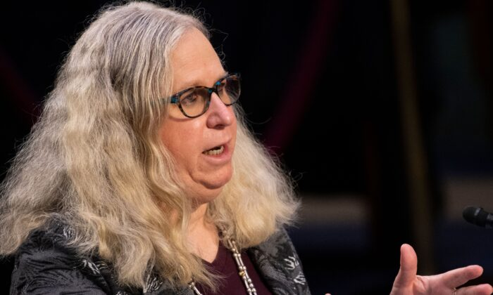 Rachel Levine, nominee for assistant secretary of Health and Human Services, testifies before her confirmation hearing of the Senate Health, Education, Labor, and Pensions committee in Washington on Feb. 25, 2021. (Caroline Brehman/POOL/AFP via Getty Images)