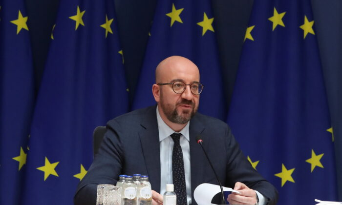 European Council President Charles Michel speaks during a video conference with the leaders, during an EU summit in Brussels, Belgium, on March 25, 2021. (Yves Herman/Reuters)