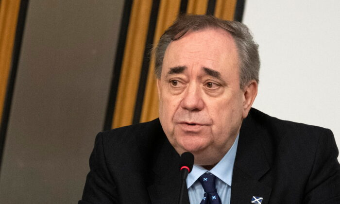 Former Scottish National Party leader and former First Minister of Scotland, Alex Salmond makes his opening statement to The Committee on the Scottish Government Handling of Harassment Complaints at Holyrood, examining the government's handling of harassment allegations against him, in Edinburgh, Scotland, Britain, on Feb. 26, 2021.  (Andy Buchanan/Pool via Reuters)