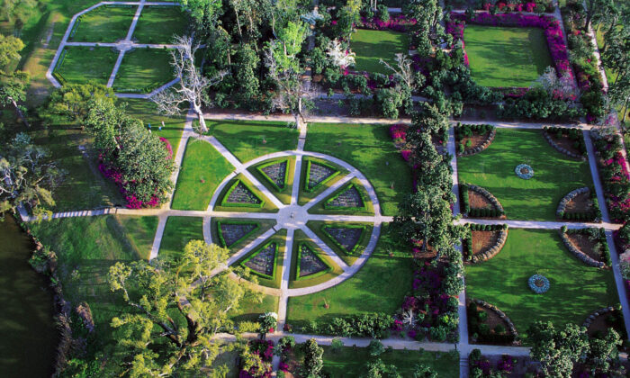 An aerial view of the Rose Garden at Middleton Place. (Courtesy of Middleton Place)