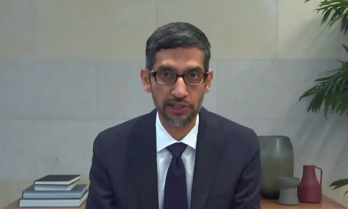 """Google CEO Sundar Pichai testifies during a remote video hearing held by subcommittees of the U.S. House of Representatives Energy and Commerce Committee on """"Social Media's Role in Promoting Extremism and Misinformation"""" in Washington on March 25, 2021. (U.S. House of Representatives Energy and Commerce Committee/Handout via Reuters)"""