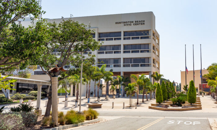 The Civic Center in Huntington Beach, Calif., on Sept. 29, 2020. (John Fredricks/The Epoch Times)