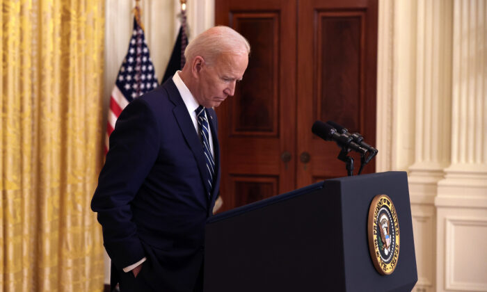 President Joe Biden talks to reporters during the first news conference of his presidency in the East Room of the White House in Washington, on March 25, 2021. (Chip Somodevilla/Getty Images)
