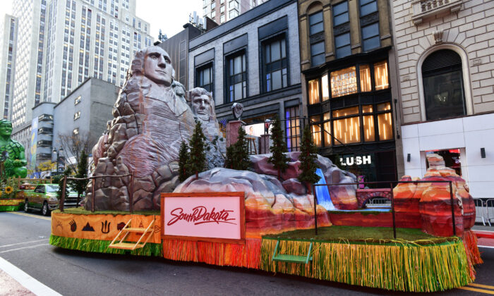File photo of the South Dakota float at the Macy's Thanksgiving parade in New York, on Nov. 24, 2020. South Dakota topped the charts in 2020:Q4 quarterly annualized GDP growth and had the lowest unemployment rate in February 2021. (Eugene Gologursky/Getty Images for Macy's, Inc.)