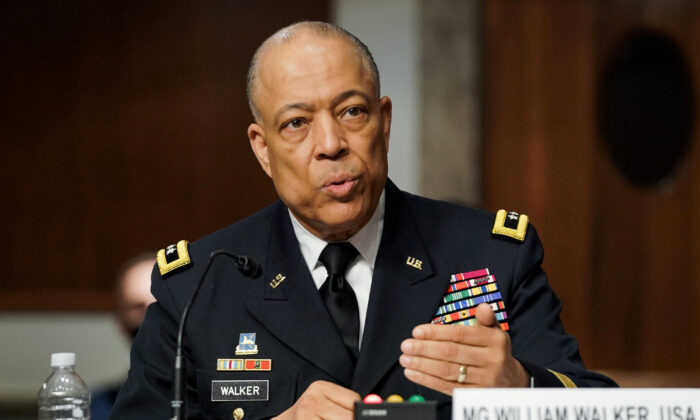 Commanding General District of Columbia National Guard Major General William J. Walker speaks at a hearing on Capitol Hill, in Washington, on March 3, 2021. (Greg Nash/Pool via Reuters)