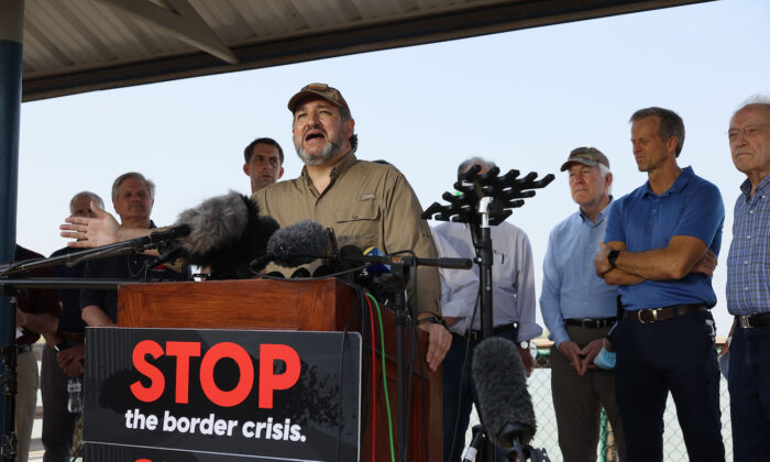 Sen. Ted Cruz (R-Texas) speaks to the media after a tour of part of the Rio Grande river on a Texas Department of Public Safety boat in Mission, Texas, on March 26, 2021. (Joe Raedle/Getty Images)