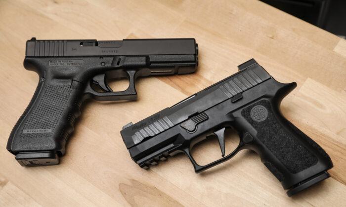 Firearms are seen at a gun shop in Richmond, Va., on Jan. 13, 2020. (Samira Bouaou/The Epoch Times)