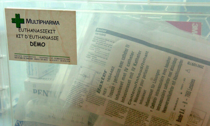 "This picture shows an ""euthanasia kit"" available in hundreds of Belgian Multipharma's chemist shops for the general practitioners who want to practise euthanasias at the patients' homes, in Brussels on April 18, 2005. (Etienne Ansotte/AFP via Getty Images)"