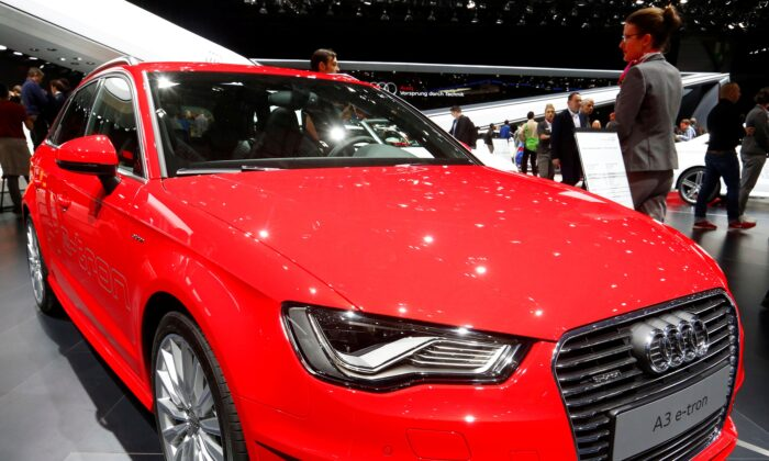 The new Audi A3 E-Tron petrol-electric hybrid car is seen during the second press day ahead of the 85th International Motor Show in Geneva, on March 4, 2015. (Arnd Wiegmann/Reuters)