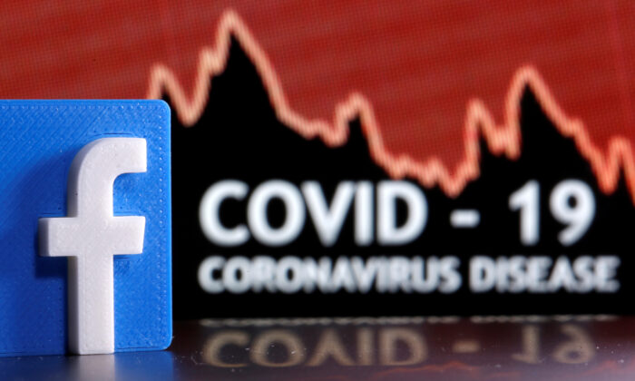 A 3D-printed Facebook logo is seen in front of displayed coronavirus disease words in this illustration taken on March 24, 2020. (Dado Ruvic/Illustration/Reuters)