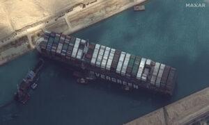 Plan Made to Refloat Ship Blocking Suez Canal Using Tide
