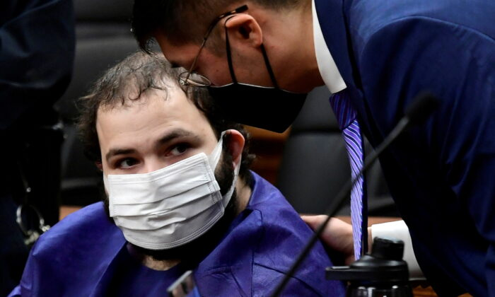 King Soopers shooting suspect Ahmad Al Aliwi Alissa appears at the Boulder County Justice Center in Boulder, Colo., on March 25, 2021. (Helen H. Richardson/The Denver Post/Pool via Reuters)