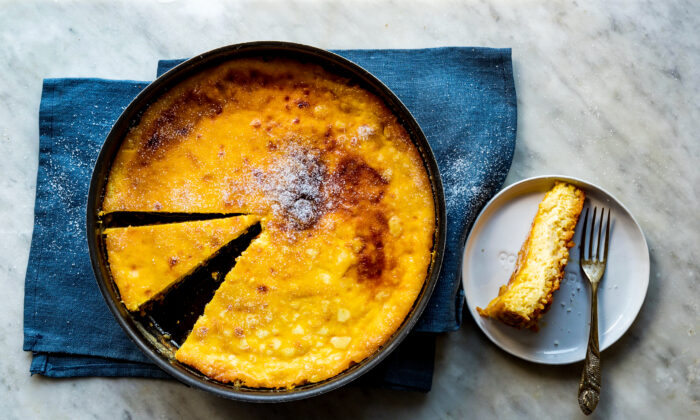 This comforting cake has three layers: caramel on the bottom, which seeps into a layer of rice pudding, finally topped with a wobbling layer of custard. (Giulia Scarpaleggia)