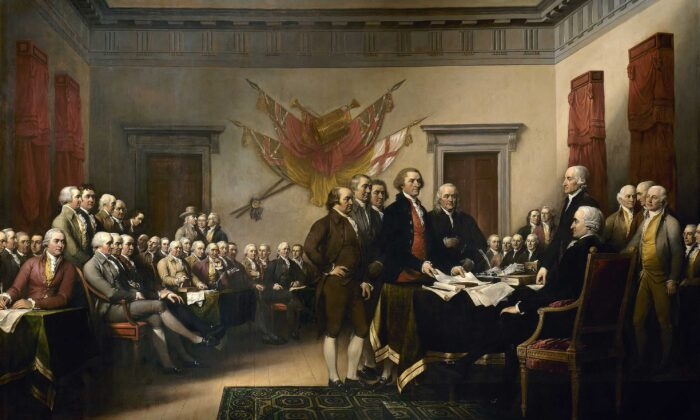 "John Trumbull's painting, ""Declaration of Independence"" (1819), depicts the five-man drafting committee of the Declaration of Independence presenting their work to the Congress. The painting can be found on the back of the U.S. $2 bill. The original hangs in the U.S. Capitol rotunda. (Public Domain)"