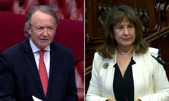 Lord Alton of Liverpool and Baroness Kennedy of The Shaws speak on the genocide amendment in the House of Lords in London on March 23, 2021. (Parliamentlive TV/Screenshot)