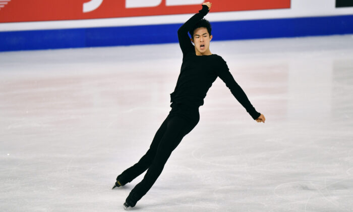 Nathan Chen of the USA performs during the Men Free Skating Program at the Figure Skating World Championships in Stockholm, Sweden, on March 27, 2021. (Martin Meissner/AP Photo)