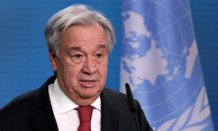 U.N. Secretary-General Antonio Guterres addresses the media during a news conference in Berlin, Germany, on Dec. 17, 2020. (Michael Sohn/Pool via Reuters)