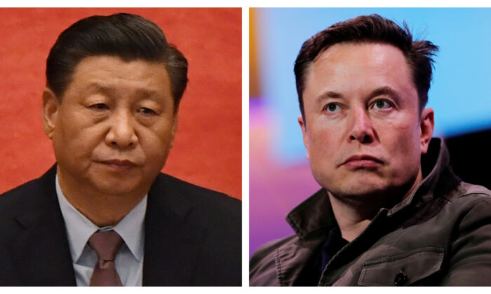(Left) Chinese leader Xi Jinping in Beijing on March 4, 2021. (Leo Ramirez/AFP via Getty Images); (Right) Tesla CEO Elon Musk in Los Angeles, Calif., on June 13, 2019. (Mike Blake/Reuters)