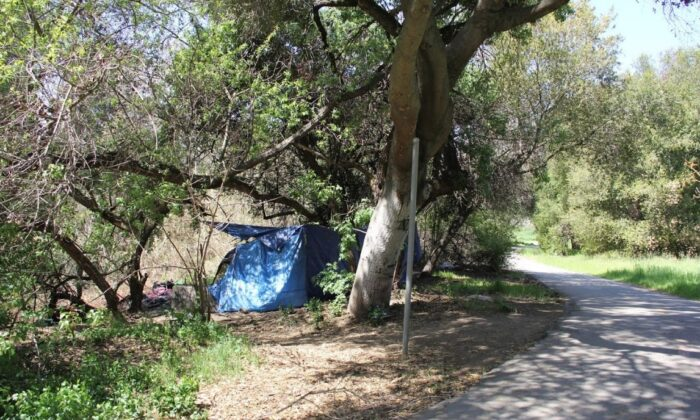 A tent encampment near the Coyote Creek Trail in San Jose, Calif., on March 24, 2021. (David Lam/The Epoch Times)