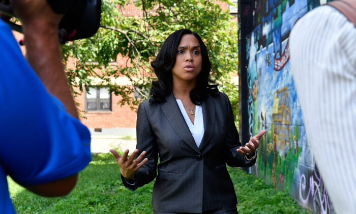 State's Attorney for Baltimore Marilyn Mosby speaks to reporters in Baltimore, Md., on Aug. 24, 2016. (Larry French/Getty Images for BET Networks)