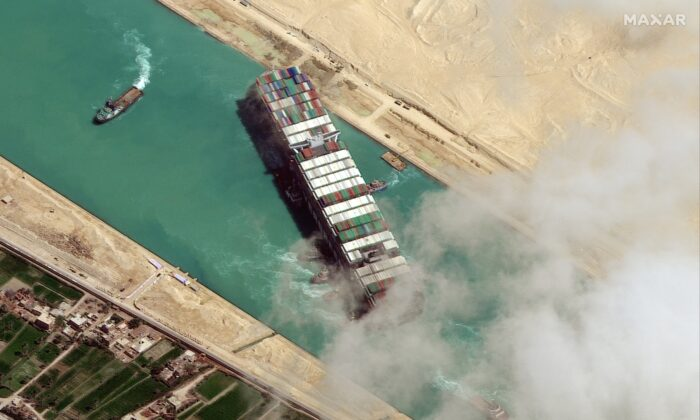 A view shows Ever Given container ship in Suez Canal in this Maxar Technologies satellite image taken on March 29, 2021. (Satellite image ©2021 Maxar Technologies/Handout via REUTERS)