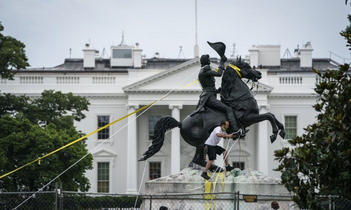 Protesters attempt to pull down the statue of Andrew Jackson in Lafayette Square near the White House in Washington on June 22, 2020. (Drew Angerer/Getty Images)