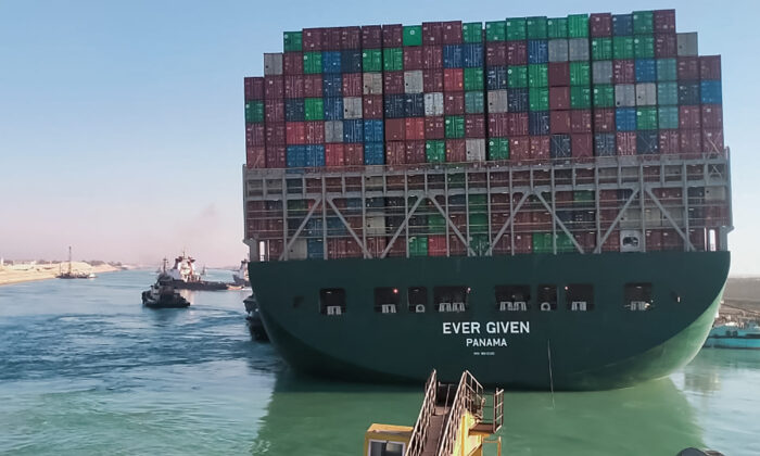 The Panama-flagged MV 'Ever Given' container ship begins to move in the Suez Canal, on March 29, 2021. (AFP via Getty Images)
