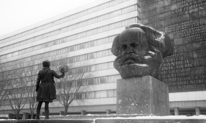 "The bust of Karl Marx, known as Karl Marx Monument, is seen in Chemnitz, Germany, in a scene from the documentary ""Karl Marx City."" (Courtesy of TIFF)"