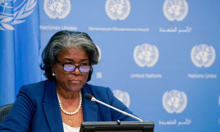 US ambassador to the United Nations, Linda Thomas-Greenfield, speaks during a press conference at the UN Headquarters in New York on March 1, 2021. (Timothy A. Clary/AFP via Getty Images)