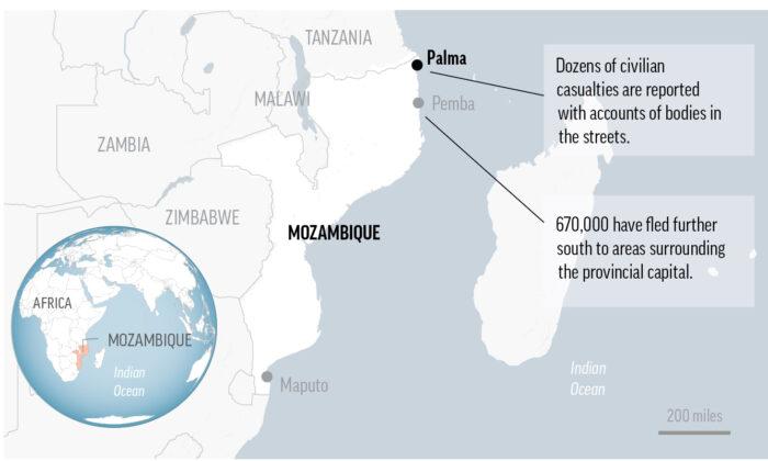 Map locates Palma, Mozambique. (AP Image)