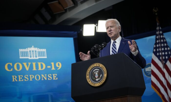 President Joe Biden delivers remarks on the COVID-19 response and the state of vaccinations in the South Court Auditorium at the White House complex in Washington on March 29, 2021. (Drew Angerer/Getty Images)