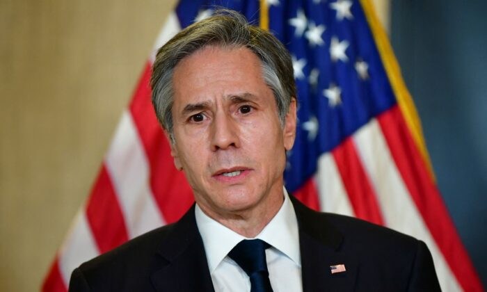 U.S. Secretary of State Antony Blinken addresses the media following the closed-door morning talks between the United States and China upon conclusion of their two-day meetings in Anchorage, Alaska on March 19, 2021. (Frederic J. Brown/POOL/AFP via Getty Images)