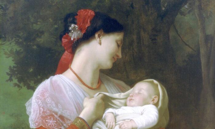 "Detail, ""Maternal Admiration"" by William-Adolphe Bouguereau, 1869. (Public domain)"