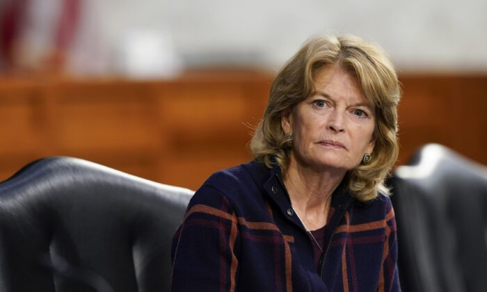 Sen. Lisa Murkowski (R-Alaska) listens during a Senate Health, Education, Labor, and Pensions Committee hearing on the federal COVID-19 response on Capitol Hill in Washington on March 18, 2021. (Susan Walsh/Pool/Getty Images)