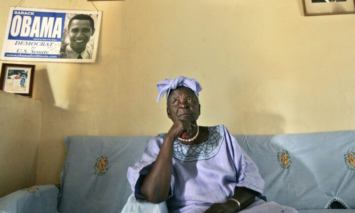 Sarah Obama, step-grandmother of then U.S. President Barack Obama, sits in the living room of her house in the village of Kogelo, near the shores of Lake Victoria, in Kenya, on Feb. 5, 2008. (Ben Curtis/AP Photo, File)