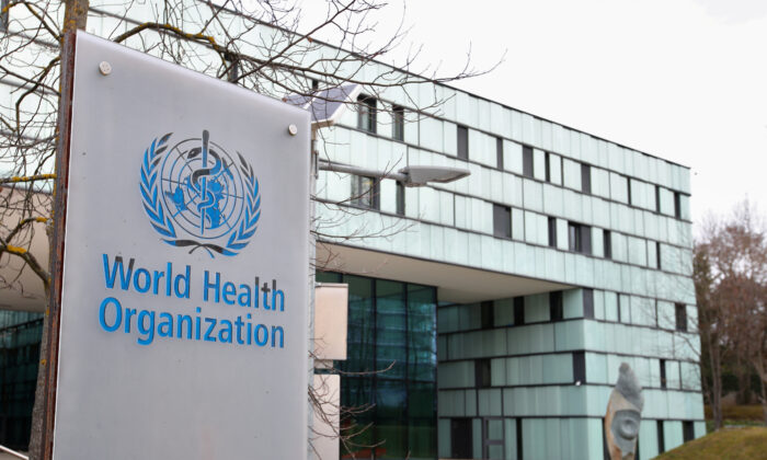A logo is pictured outside a building of the  World Health Organization (WHO) during an executive board meeting on update on the coronavirus outbreak, in Geneva, Switzerland, on Feb. 6, 2020. (Reuters/Denis Balibouse)