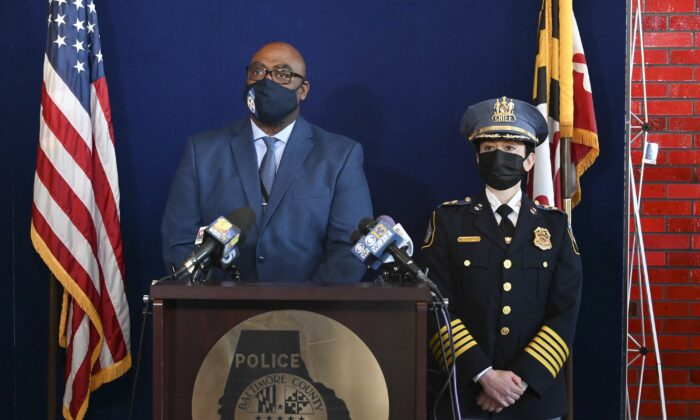 Baltimore County Police Col. Andre Davis (L) and Police Chief Melissa Hyatt are shown at a news conference in Baltimore County, Md., on March 29, 2021. (Lloyd/The Baltimore Sun via AP)