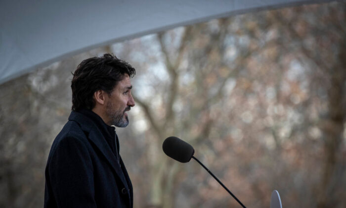 Canadian Prime Minister Justin Trudeau speaks during a COVID-19 pandemic briefing from Rideau Cottage in Ottawa, Canada, on Nov. 20, 2020. (Lars Hagberg/AFP via Getty Images)