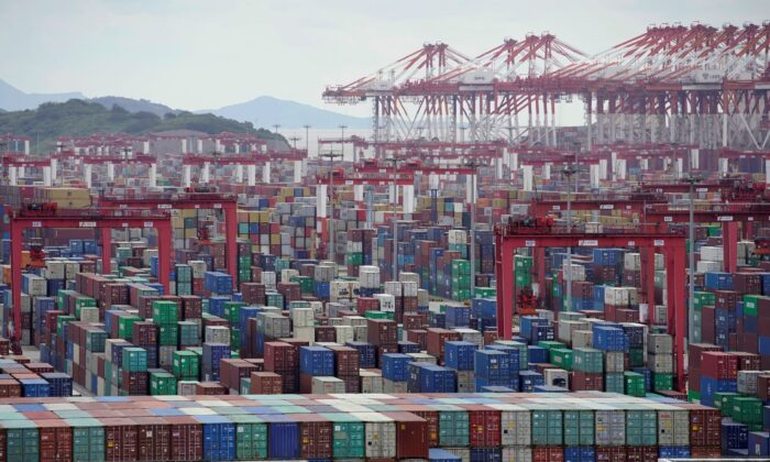 Containers are seen at the Yangshan Deep-Water Port in Shanghai, China, on Oct. 19, 2020. (Aly Song/Reuters)