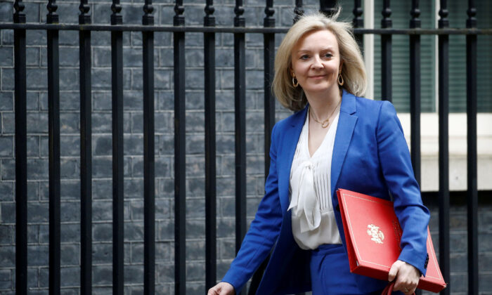 Britain's Secretary of State of International Trade and Minister for Women and Equalities Liz Truss is seen outside Downing Street, in London, Britain, on March 17, 2020. (Henry Nicholls/Reuters)