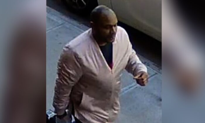 This image taken from surveillance video provided by the New York City Police Department shows 38-year-old Brandon Elliot believed to be connected with an assault on an Asian American woman in New York City on March 29, 2021. (Courtesy of New York Police Department via AP)