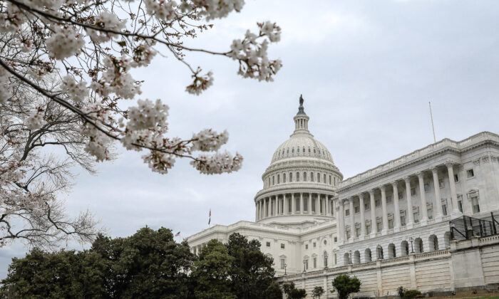 The Capitol during the coronavirus outbreak in Washington on March 16, 2020. (Samira Bouaou/The Epoch Times)