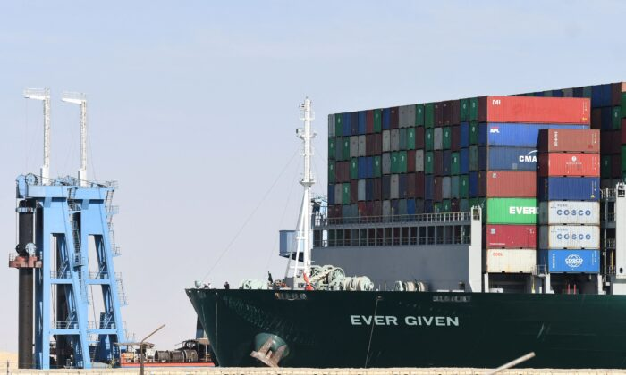 The Panama-flagged MV 'Ever Given' container ship is seen after being fully dislodged from the banks of the Suez Canal, near Suez city, on March 29, 2021. (Ahmad Hassan/AFP via Getty Images)