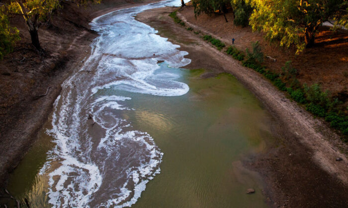 A new flow is seen meeting pools of green water along the Darling Barka river, as a flow of water arrives from upstream on February 24, 2020 in Louth, Australia. (Jenny Evans/Getty Images)