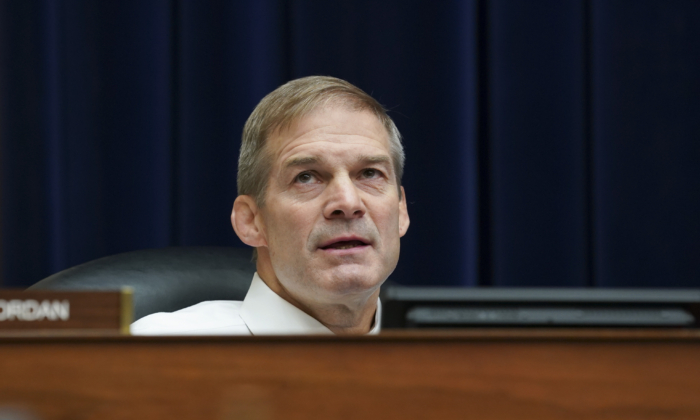 Rep. Jim Jordan (R-Ohio) listens during a House Select Subcommittee on the Coronavirus Crisis hearing in Washington on Sept. 23, 2020. (Stefani Reynolds-Pool/Getty Images)
